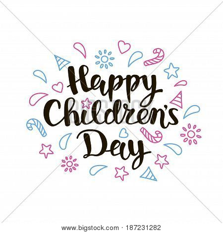 Children s day inscription on white background. Happy Childrens Day title hand lettering with decorative elements for cards, posters and banners. Vector illustration