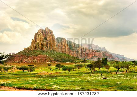 Landscape shot in Tigray province Ethiopia Africa