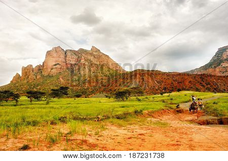Landscape shot in Tigray province Ethiopia Africa