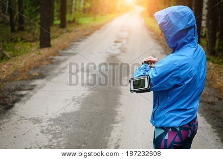 Watch For Sports With Smartwatch. Jogging Training For Marathon.