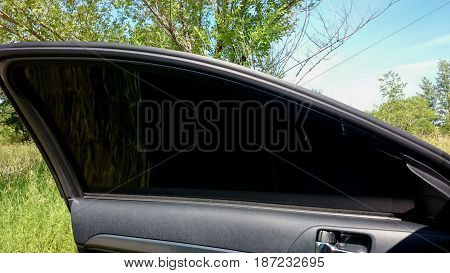 Car privacy toned tint glass. Car privacy concept.