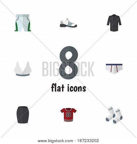 Flat Dress Set Of Foot Textile, Trunks Cloth, Underclothes And Other Vector Objects. Also Includes Trunks, Shorts, Gumshoes Elements.
