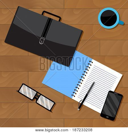 Top view of business notebook and briefcase with documents. Desk top view vector cup of coffee phone and glasses illustration