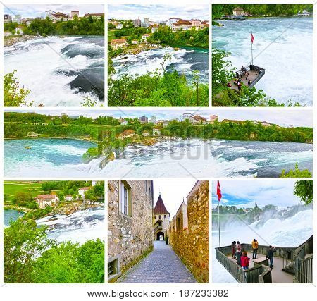 The largest waterfall in Europe by River Rhein in Switzerland. Collage