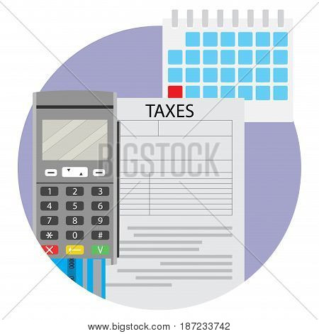 Date of taxation icon app. Tax accounting icon vector finance inheritance tax illustration