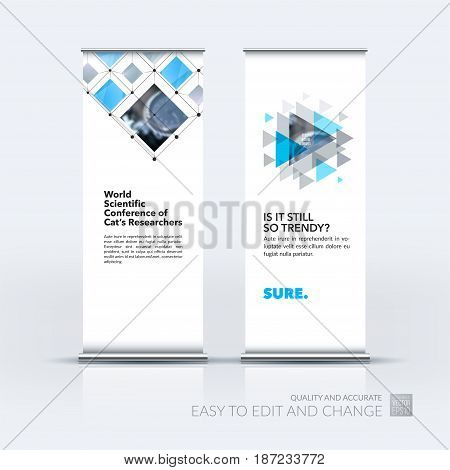 Abstract business vector set of modern roll Up Banner stand design template with grey rectangular shapes, grid for tech, market, exhibition, show, expo, presentation, parade, events.