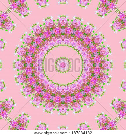 Abstract background, round floral ornament in violet, purple, bright green and white on pink, ornate and dreamy.