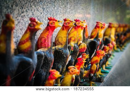 The row of chicken doll close up