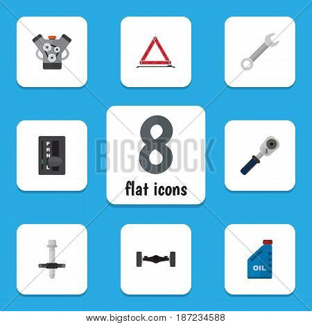 Flat Service Set Of Petrol, Motor, Muffler And Other Vector Objects. Also Includes Key, Silent, Wrench Elements.