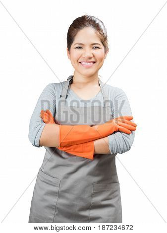 Asian Housewife Wearing Rubber Gloves Crossed Arms