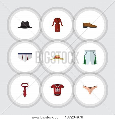 Flat Clothes Set Of Lingerie, Underclothes, Trunks Cloth And Other Vector Objects. Also Includes Shoe, Necktie, Hat Elements.