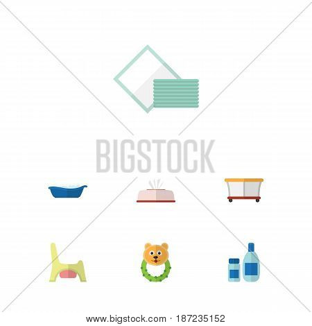 Flat Infant Set Of Rattle, Toilet, Cream With Lotion And Other Vector Objects. Also Includes Bathing, Toilet, Playpen Elements.