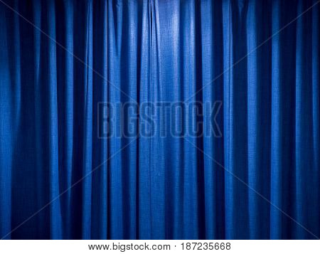 blue curtain background with satin cloth texture