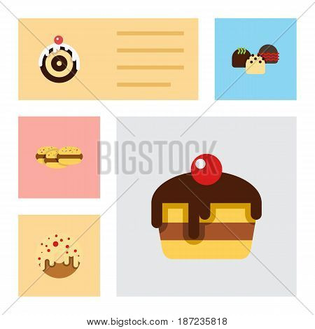 Flat Cake Set Of Pastry, Biscuit, Doughnut And Other Vector Objects. Also Includes Biscuit, Doughnut, Pastry Elements.