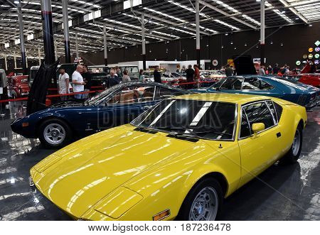 Gosford Australia - Apr 30 2017. Porsche is a German automobile manufacturer specializing in high-performance sports cars. A truly amazing classic car collection in Gosford Classic Car Museum.