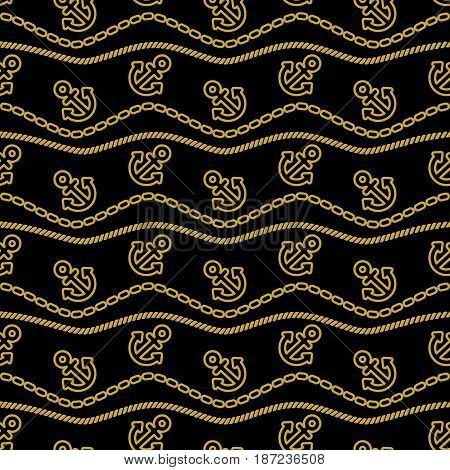 Seamless pattern with chains ropes and anchors. Ongoing stripes background of marine theme gold and black color.