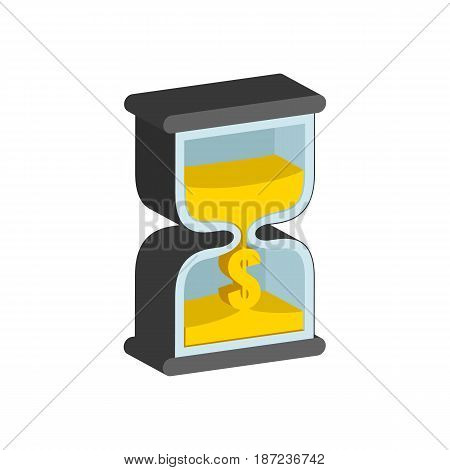 Sandclock, Time Is Money Concept Symbol. Flat Isometric Icon Or Logo. 3D Style Pictogram For Web Des