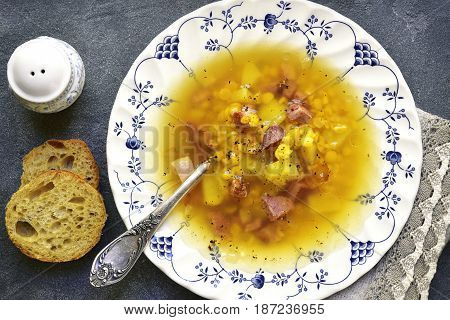 Dried Pea Soup With Smoked Bacon.top View.