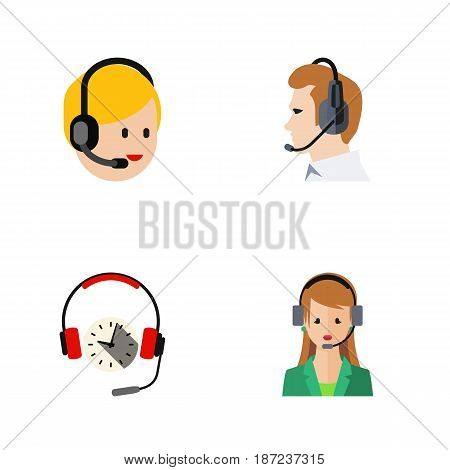 Flat Hotline Set Of Telemarketing, Secretary, Headphone And Other Vector Objects. Also Includes Service, Center, Earphone Elements.