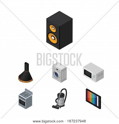 Isometric Appliance Set Of Air Extractor, Microwave, Music Box And Other Vector Objects. Also Includes Vac, Machine, Washing Elements.