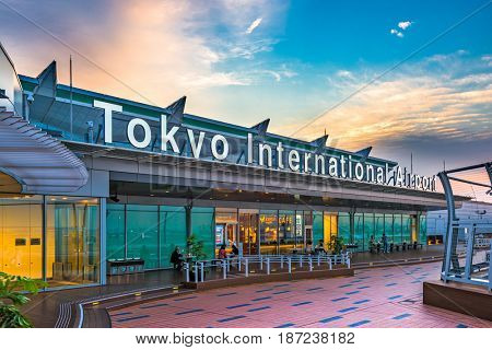 TOKYO, JAPAN - MAY 11, 2017: The exterior of Tokyo International Airport, better known as Haneda Airport. Haneda was the primary international airport serving Tokyo until 1978.