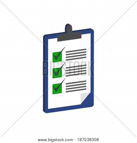 Clipboard With Checklist Symbol. Flat Isometric Icon Or Logo. 3D Style Pictogram For Web Design, Ui,