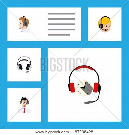 Flat Call Set Of Telemarketing, Earphone, Headphone And Other Vector Objects. Also Includes Headset, Hotline, Headphone Elements.