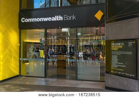 Commonwealth Bank Branch Front Door Entrance In Melbourne Cbd