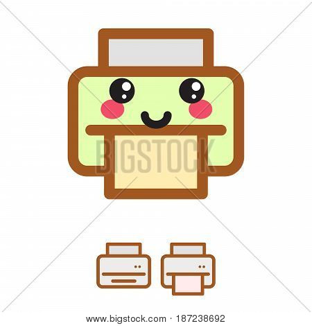 Printer kawaii vector icon. Simple color inkjet illustration symbol.