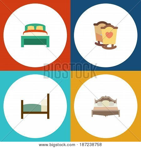 Flat Bedroom Set Of Furniture, Bed, Crib And Other Vector Objects. Also Includes Bedroom, Child, Bearings Elements.