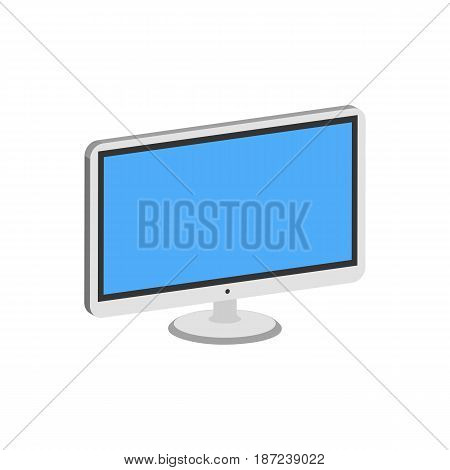 Computer Monitor, Display Symbol. Flat Isometric Icon Or Logo. 3D Style Pictogram For Web Design, Ui