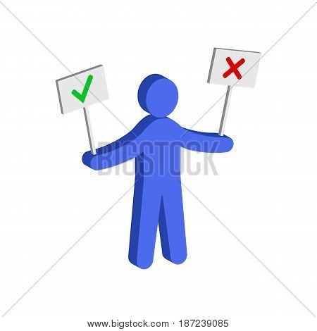Figure Man Holding Right And Wrong Signs. Flat Isometric Icon Or Logo. 3D Style Pictogram For Web De