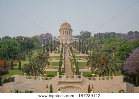 Bahai Gardens And Shrine At Sunrise, In Haifa