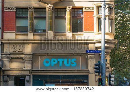 Optus Sign On Elizabeth Street In Melbourne Central Business District, Cbd