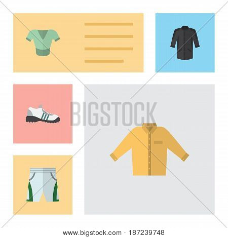 Flat Garment Set Of Trunks Cloth, Casual, Banyan And Other Vector Objects. Also Includes Shirt, Uniform, Clothes Elements.