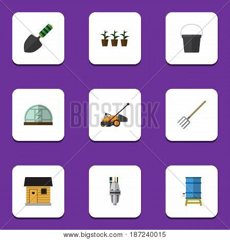 Flat Farm Set Of Hothouse, Lawn Mower, Hay Fork And Other Vector Objects. Also Includes Shovel, Trowel, Tank Elements.