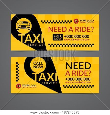 Set of taxi service business banner poster flyer. Taxi pickup service layout templates. Vector illustration.