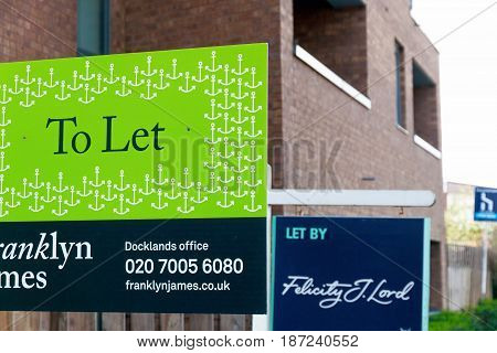 To Let Signs Outside A English Townhouse