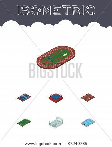 Isometric Sport Set Of Fighting, Run Stadium, Basin And Other Vector Objects. Also Includes Tennis, Basin, Football Elements.