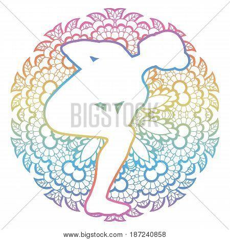 Mandala round background. Revolved Chair Yoga Pose. Parivrtta Utkatasana Vector illustration