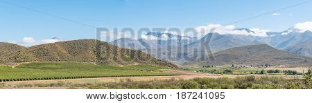 Panorama of a farm landscape with the Swartberg (black mountain) in the back near Hoeko in the Western Cape Province