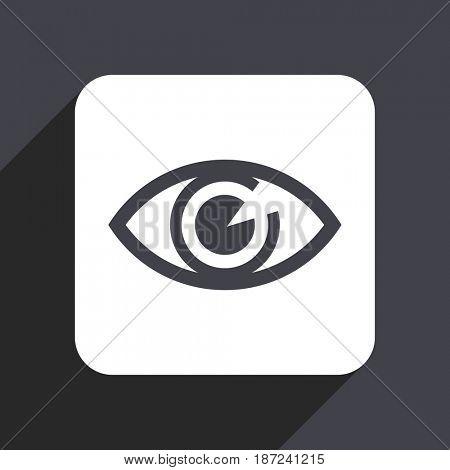 Eye flat design web icon isolated on gray background