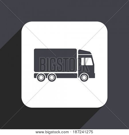 Delivery flat design web icon isolated on gray background