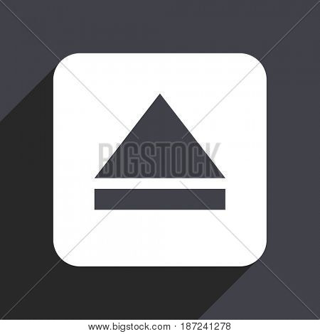 Eject flat design web icon isolated on gray background