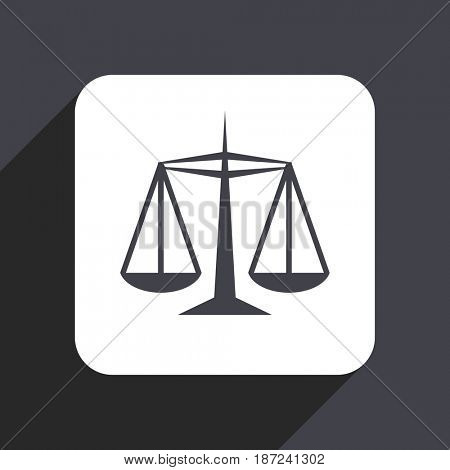 Justice flat design web icon isolated on gray background