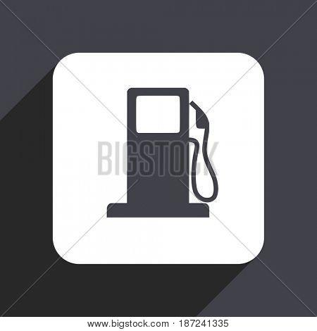 Petrol flat design web icon isolated on gray background