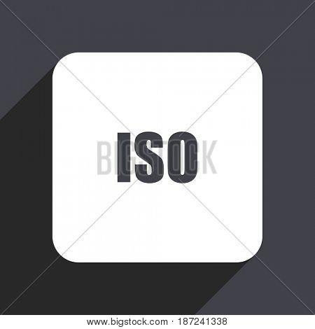 ISO flat design web icon isolated on gray background