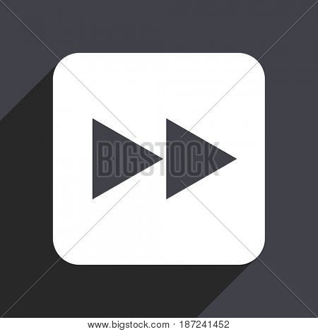 Rewind flat design web icon isolated on gray background