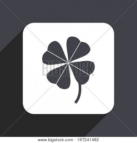 Four-leaf clover flat design web icon isolated on gray background