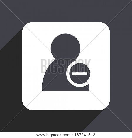 Remove contact flat design web icon isolated on gray background